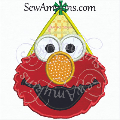 Elmo face applique in a birthday hat embroidery design