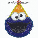 cookie monster face applique in a birthday party hat