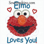Elmo loves you words applique red furry monster face with hearts