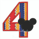Mickey Mouse applique Number 4