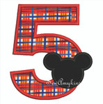 Mickey Mouse applique Number 5
