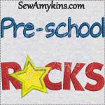 pre-school rocks school design star applique