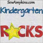 kindergarten rocks school star applique 4x4