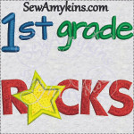 1st first grade rocks school star applique 4x4