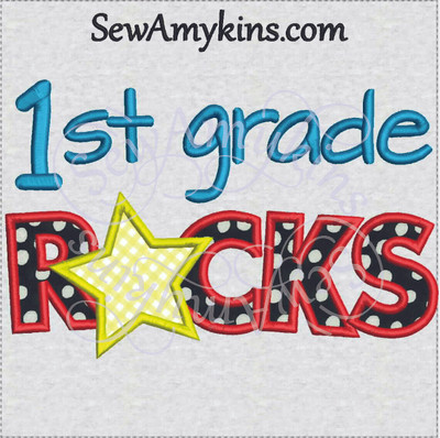first grade rocks star applique 1st