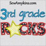 3rd grade rocks star applique embroidery sewamykins