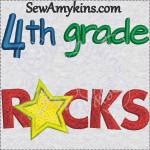 4th grade rocks star applique embroidery sewamykins
