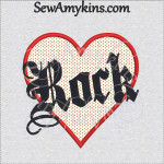 rock heart applique music machine embroidery design