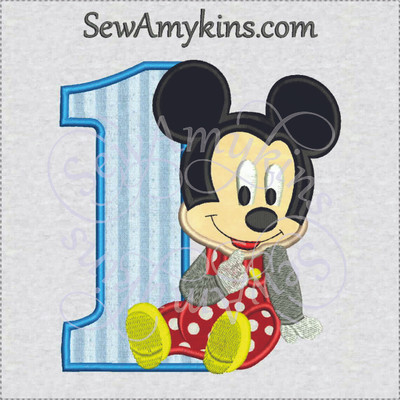 Mickey Mouse Birthday Numbers Machine Embroidery Designs