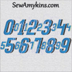 speed numbers font race car embroidery design number