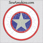 Captain America shield applique machine embroidery