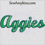 Aggies team name sports machine embroidery design