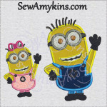 despicable me minions boy girl applique machine embroidery