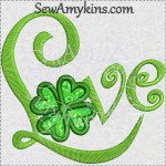 shamrock Love applique machine embroidery design St Patrick Irish
