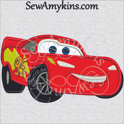 Lightning McQueen applique car embroidery design machine embroidery sport race cars 95