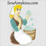 Cinderella bubbles applique machine embroidery design cleaning washing