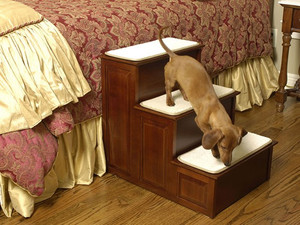 Herzhers Three Step Wood Dog Steps - Warm Cherry Finish
