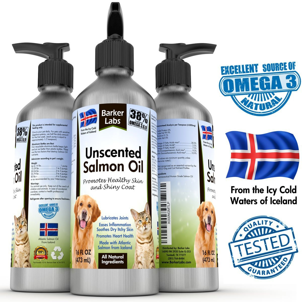 Barker labs salmon fish oil for dogs cats natural for Fish oil for dogs