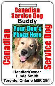 Canadian Service Dog ID Badge Canada