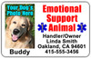 Emotional Support Animal Tag Horizontal Set for Large Animals (2 Lrg Tags)