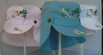 LIGHT BLUE, WHITE, PINK, BROWN FLAP HAT