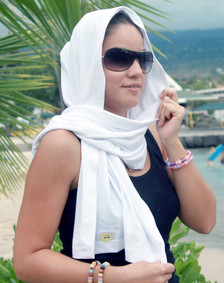 Sun scarf, whie, UV sun protection, blocks 98% UV rays