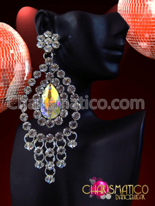 CHARISMATICO Oversized Tear Drop Chandler Rhinestone Edged Iridescent Crystal Diva Earrings
