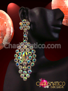CHARISMATICO Oversized Iridescent Crystal Oval Drop Cluster Drag Queen's AB Earrings