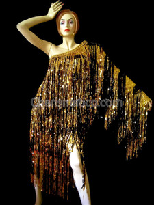 GOLD BLACK Shiny Fringe One Shoulder Drag Queen Dress