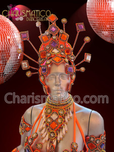 CHARISMATICO Beaded Orange, purple, and white carnival bra set and headdress