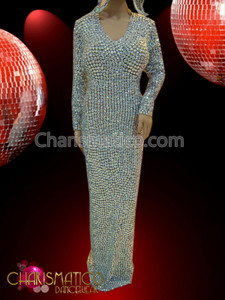 long sleeved Sleek iridescent crystal embellished Diva's pageant column gown