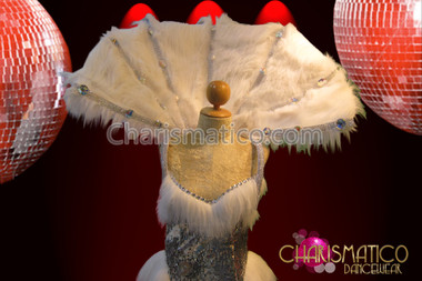 Elegant Rhinestone accented luxurious white fur high collar styled backpack