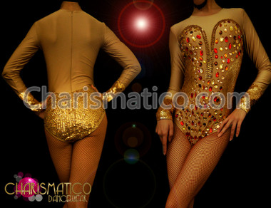 "Nude illusion dance Showgirl leotard with gold sequin ""corset"" and ""cuffs"""