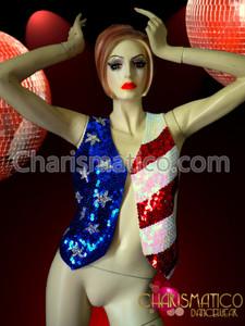 Diva cabaret floorshow 4th of July USA flag sequined vest.