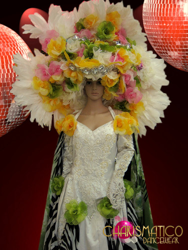 Large white pink green and yellow spring flower bridal headdress mightylinksfo