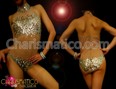 Nude Illusion mock turtle neck sexy silver sequin dance leotard
