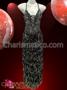Silver accented Black sequin Latin Dance dress with fringe skirt