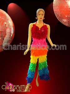 Drag Queen's Rainbow Feather Gay Pride front slit column gown