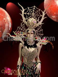 "CHARISMATICO Silver glitter spiderweb Disco Headdress and rainbow feather ""branch"" collar"