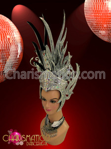 CHARISMATICO Silver glitter mirror tile trimmed crystal accented Mohawk Diva Headdress