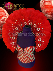 Diva Showgirl Classic Red rhinestone accent feather backpack collar