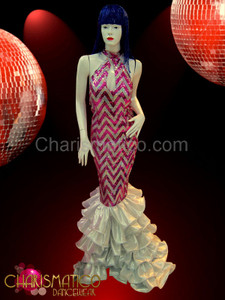Diva's flattering fuchsia and silver chevron patterned keyhole pageant gown