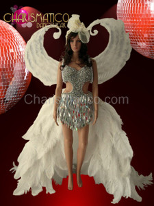 White Angel  Snow Queen Ostrich train costume + Victoria Secret wing  set