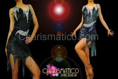 Black sequin dance dress with flame patterned crystal beaded accents