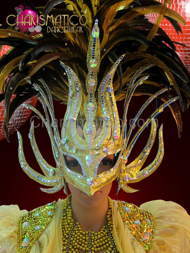 Bronze feathered metallic golden mask headdress with silver mirror tiles