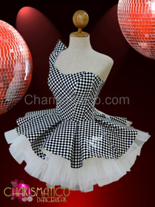 CHARISMATICO Asymmetrical Black and white Chess check vinyl Gothic Dollie Dress