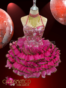 Gold and white bead accented Fuchsia Organza ruffled Sissy Dress