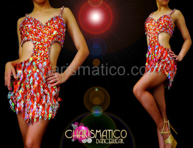 Delightful Orange and silver laser diamond fringe cutout dance dress