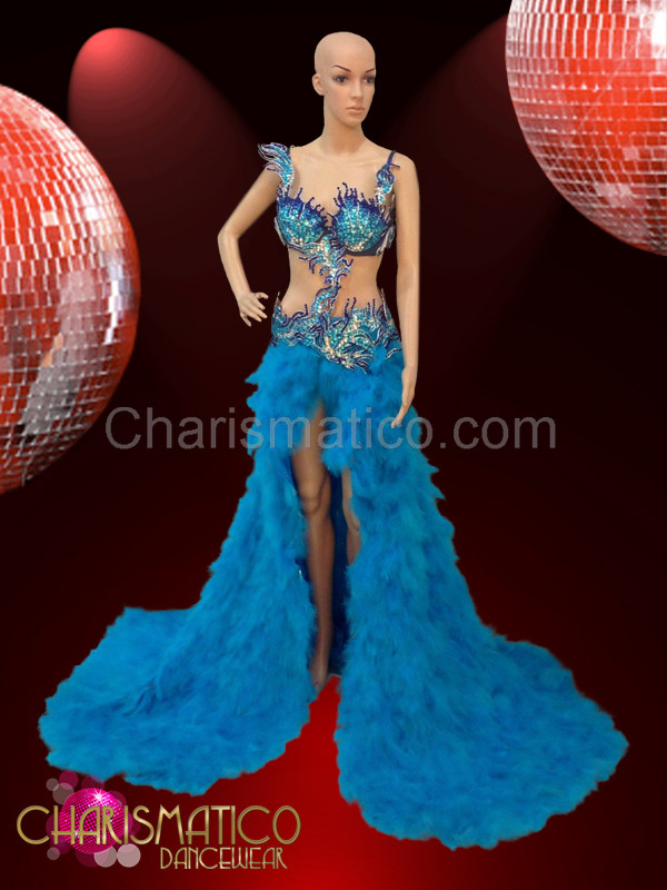 Blue feathered pageant gown with jeweled crystal open work top