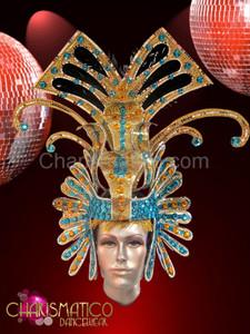 Blue and amber Golden glitter drag queen headdress with mirror tile